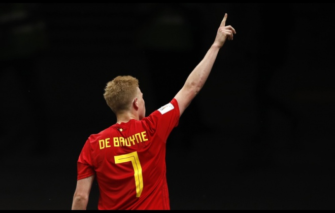 Kevin de Bruyne po strzeleniu gola Brazylii / Fot. Francisco Seco / AP Photo / East News